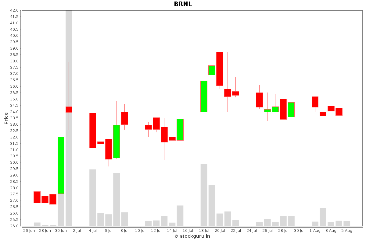 BRNL Daily Price Chart NSE Today