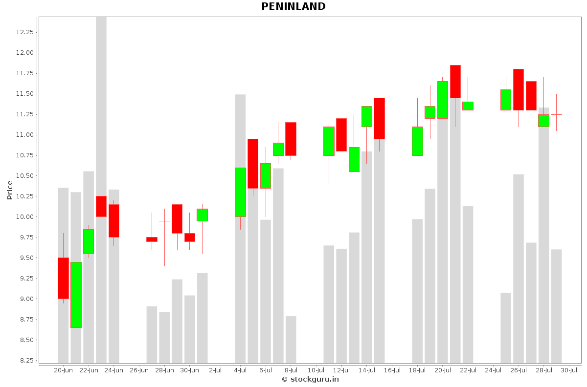 PENINLAND Daily Price Chart NSE Today