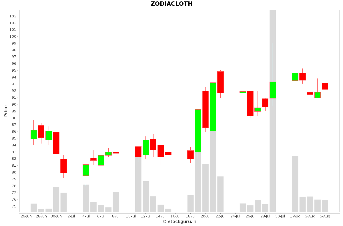 ZODIACLOTH Daily Price Chart NSE Today